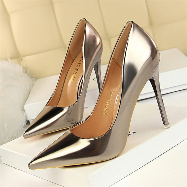 New Women Pumps Patent Leather High Heels Shoes Wedding Shoes