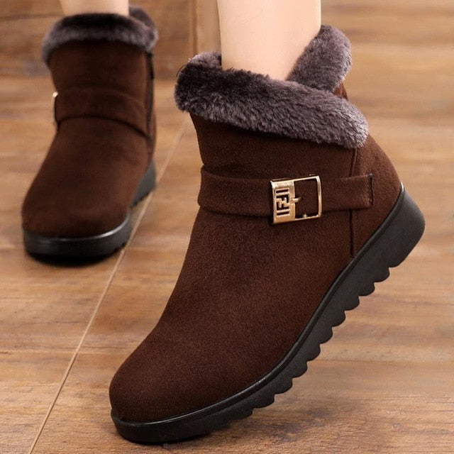 Suede sneakers snow boots solid flat with plush warm snow boots  zipper casual ankle boots