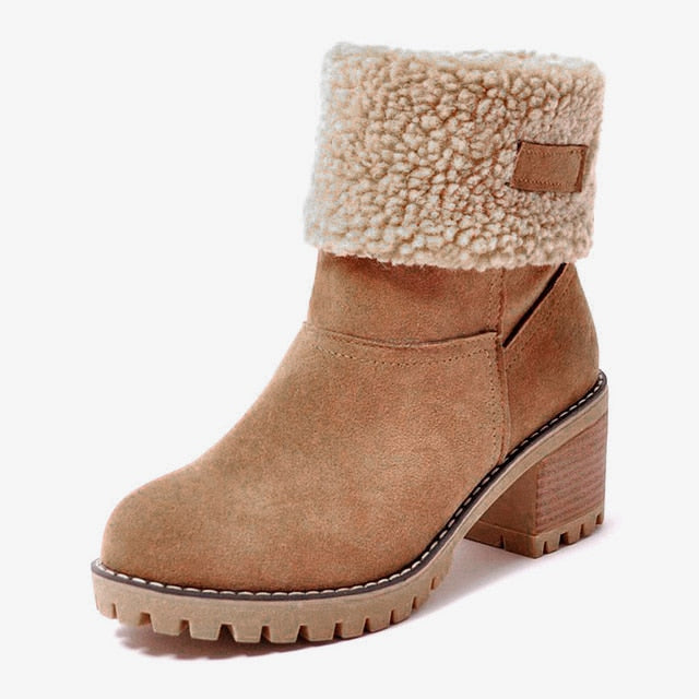 Winter Boots  Snow Boots Square Heel Platform Ankle Boots Slip-On