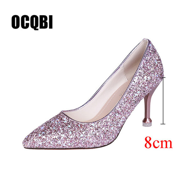 HOT style Wedding bride shingle high-heeled shoes pointy bridesmaid gold powder crystal banquet shoes