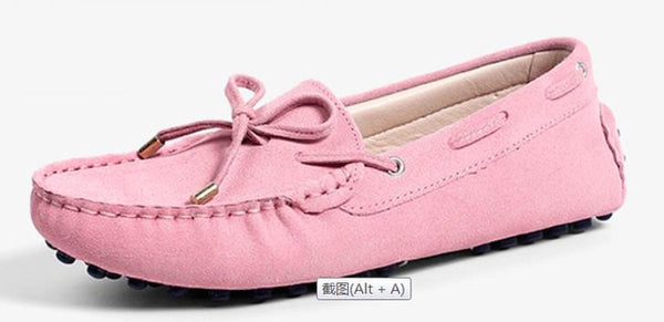 Genuine Leather  Flat Shoes Casual Loafers Slip On Moccasins Lady butterfly-knot
