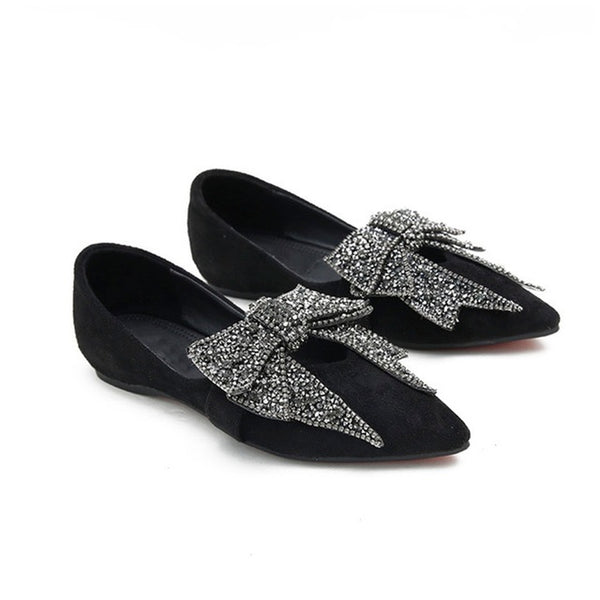 Women Flat Elegant  Fashion Ballet Shoes Bling Crystal Bow Tie Pointed Toe
