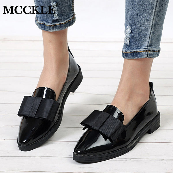 Flats Women Shoes Bowtie Loafers Patent Leather Low Heels Slip On  Pointed Toe Thick Heel
