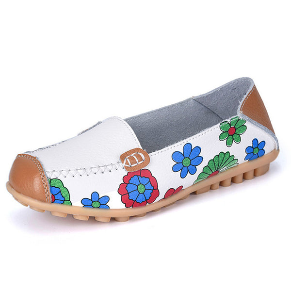 Fashion Women Flats Genuine Leather Shoes Slip On Flats Print  Moccasins Loafers