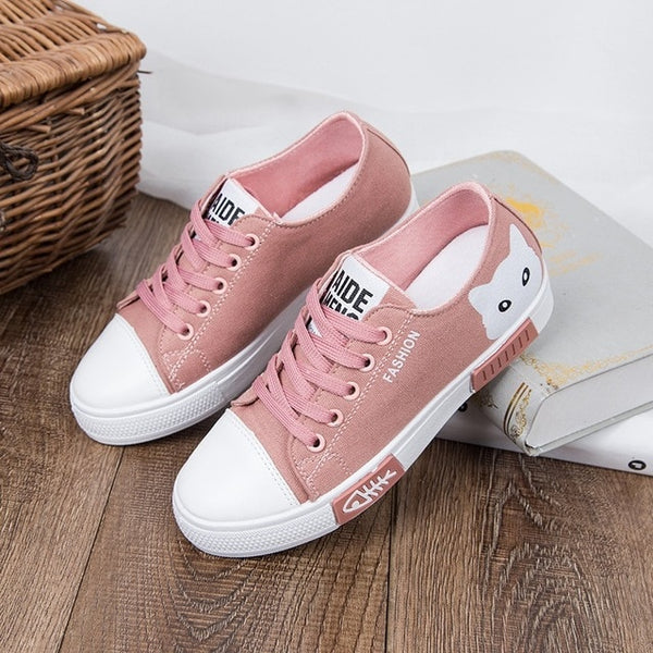 Fashion Women Shoes Flats Canvas  Platform Sneakers Lace Up Cartoon Cat