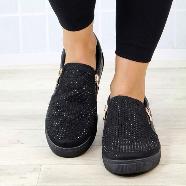 Women Crystal Slip On Flat Loafers Zipper Embossed leather Glitter Platform Fashion Female Moccasins