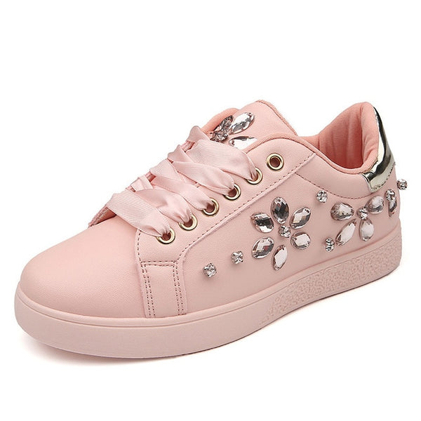 Fashion Sneakers Flats Rhinestone Woman Casual Shoes