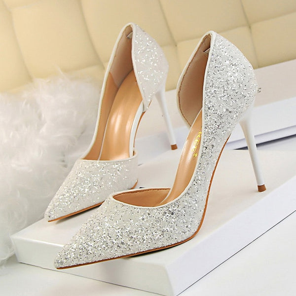Pumps Sexy Wedding Shoes Bling Extreme High Heels  Gold Sequins Gradient Stiletto Ladies Shoes