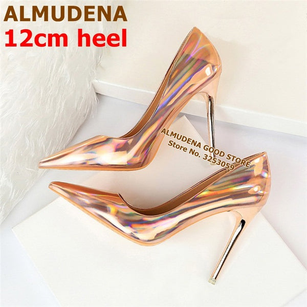 Fluorescent Purple Pointed Toe Pumps Stiletto Heels Patent Leather Shallow Dress Shoes Iridescent Wedding Heels