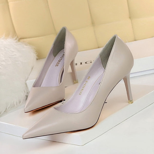 Soft Leather Shallow Fashion Women's High Heels Shoes Candy Colors Pointed Toe