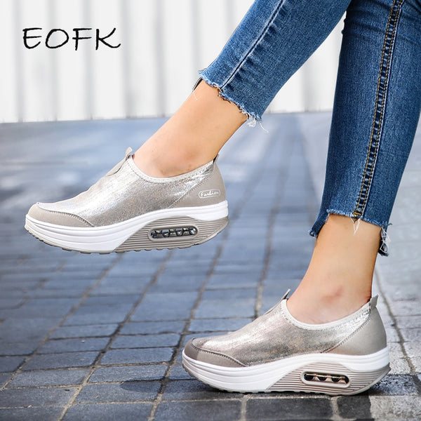 Flat Platform Shoes Loafers Casual Women's Slip On Shallow Swing Moccasin