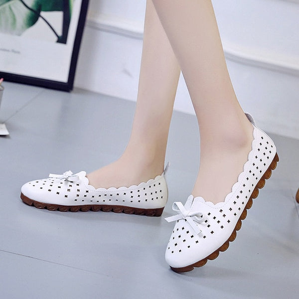 Woman Flats Casual Butterfly Knot Hollow Out Summer Shoes Pointed-toe Shoes