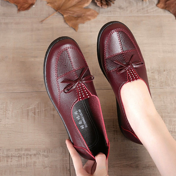 Women Leather Flats  Classic Loafers Casual Leather Shoes