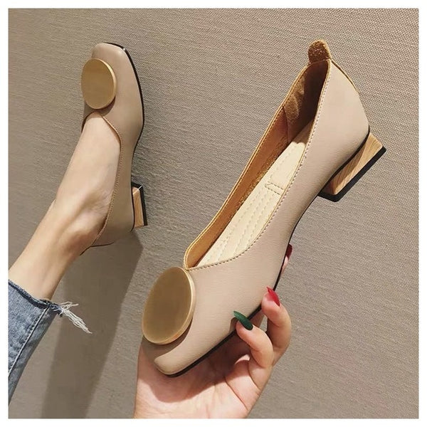 Women Flats Shoes Low Wooden Low Heel  Square Toe Shallow Buckle Slip On Loafers