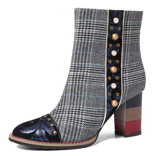 Elegant Grid Pattern Fashion Bead Sheep Leather Splicing High Square Heel  Boots