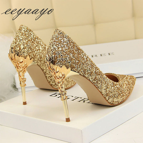 Pumps High Thin Heels Pointed Toe Metal Decoration Sexy Bling Bridal Wedding Women Shoes Gold High Heels