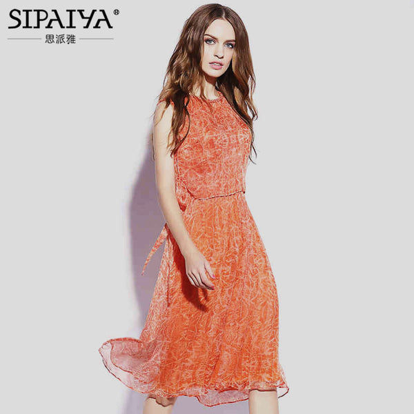 New 2017 Summer Elegant  Womens Natural Silk Dress Sleeveless Orange Green Color Loose Casual Dresses Retro vestidos