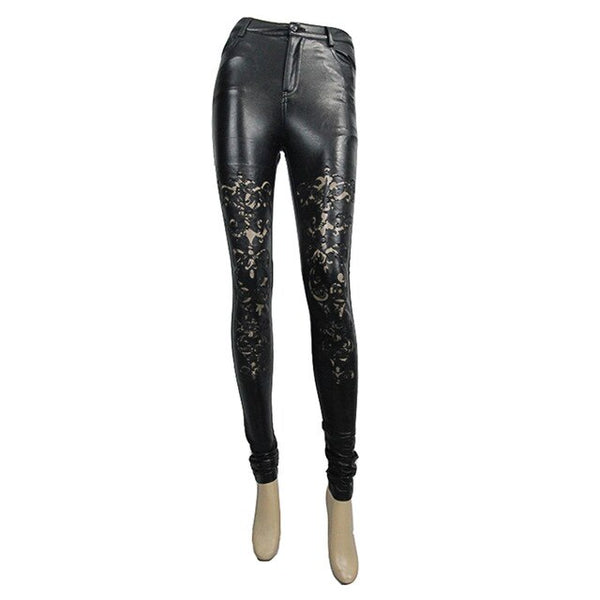 Punk Sexy Womens Faux Leather Pants Black Hollow-out Lace Leggings Skinny Pencil Pants
