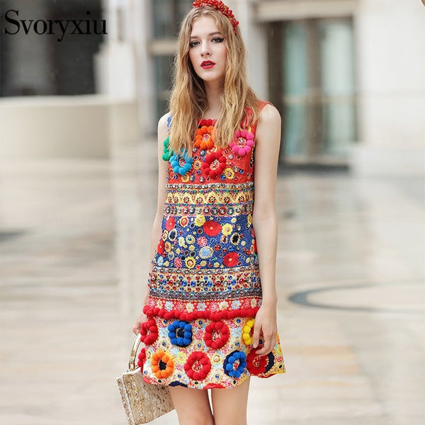 Runway Designer New Spring Autumn Tank Dress Women's High Quality 3D Floral Diamonds Print Vintage Loose Mini Dress