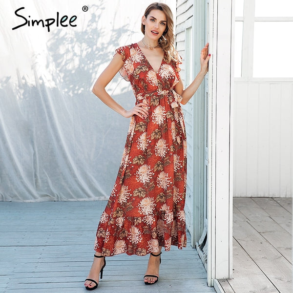 Simplee Sexy v neck ruffle boho print dress Waist tie up long dress women Summer beach loose casual maxi vestidos
