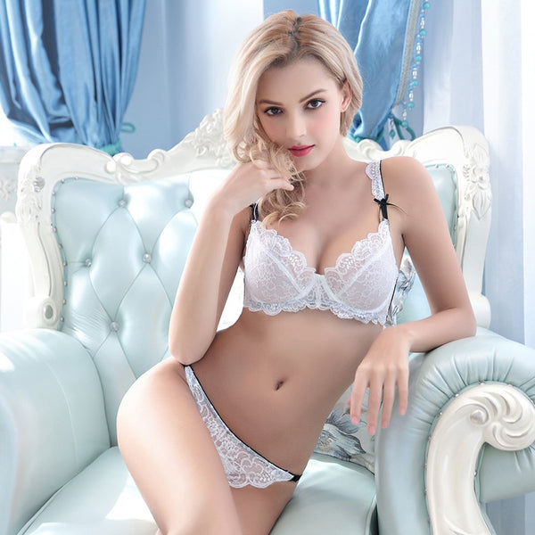 Femal Intimates Plus Size Sexy Lingerie Set Women Underwear Transparent Ultrathin Bra Set Lace Bra And Panty