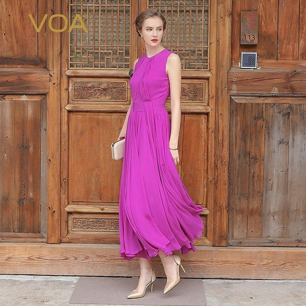 VOA 5XL Plus Size Silk Georgette Women Boho Maxi Long Dress Sleeveless Purple Cyan Casual Beach Pleated Dress Summer A5551