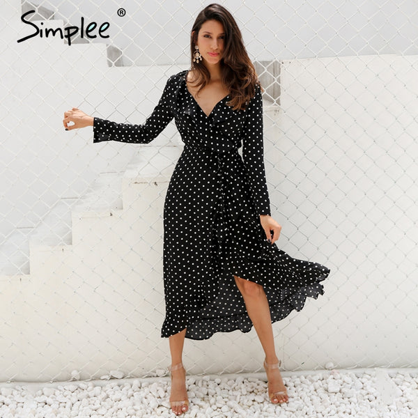 Simplee Polka dot ruffle wrap long dress Women Split long sleeve spring casual dress black maxi dress vestidos