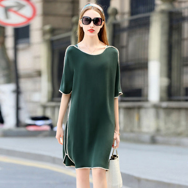 High Quality Dress Women 100% Heavy Silk Simple Design O Neck Half Sleeves 3 Colors Plus Sizes Straight Dress