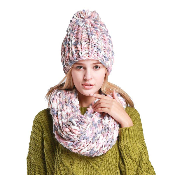 Fashion Knit Hat And Scarf Set Warm Winter Hat For Women Bonnet Scarf Set