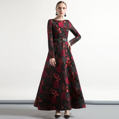 High Quality Elegant Women Long Sleeve Long Maxi Dress Fall Plus Size Floral Lady Jacquard Autum winter Dress vintage Fashion