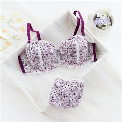 Hot Sale Luxury 1/2 Cup Brand Sexy Intimates Push Up Bra Set  Floral Embroidery Lace Bra Panty