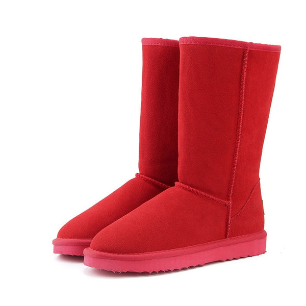 Genuine leather Fur Snow boots women Top High quality Boots  Winter Warm Botas