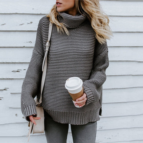 Women Retro Turtleneck Knitted Long Pullovers Autumn Winter Casual Loose Solid Sweaters