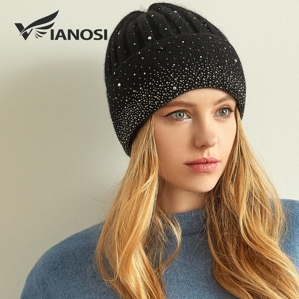 VIANOSI New Fashion Wool Winter Hats for Women Beanies with Pearl Fashion Warm Cap Brand Bonnet