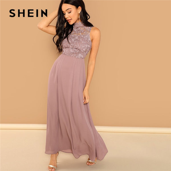 SHEIN Pink Guipure Lace Overlay Bodice Maxi Dress Elegant Plain Stand Collar Sleeveless Party Dresses Women Autumn A Line Dress