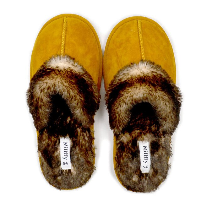 Millffy Faux Fur Slip On Womens House Slipper with Memory Foam slippers shoes woman chaussures femme