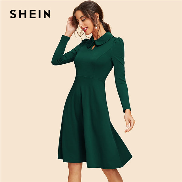 SHEIN Green Keyhole Front Flare Dress Vintage Cut Out Knee Length High Waist A Line Dresses Women  Spring Party Dress