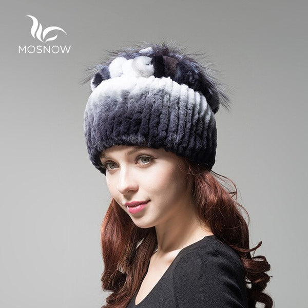 Female Hats 100% Rex Rabbit Fur Women Vintage Flower Top Casual Solid Knitted Bonnet
