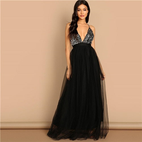 SHEIN Black Crisscross Back Sequin Bodice Mesh Halter Deep V Neck Fit and Flare Solid Slim Long Dress Autumn Women Party Dresses