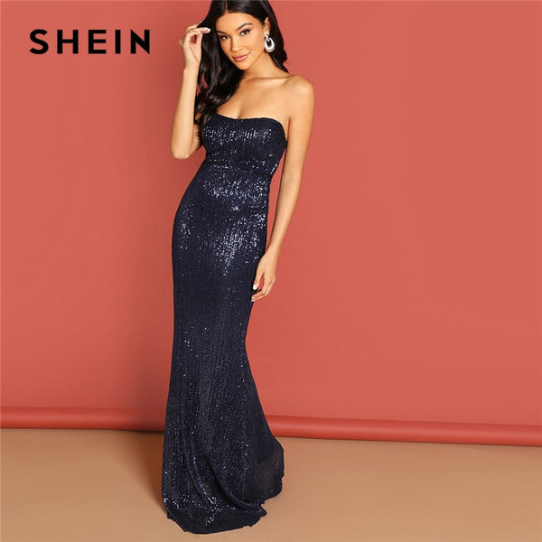 SHEIN Navy Elegant Sequin Mesh Strapless Bodycon Evening Gown High Waist Zipper Back Solid  Summer Women Party Dresses