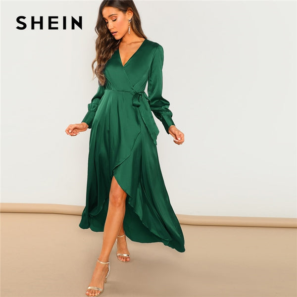 SHEIN Green Solid Surplice Wrap Knot High Waist Belted Maxi Plain V Neck Dress Women Casual Summer Modern Lady Elegant Dress