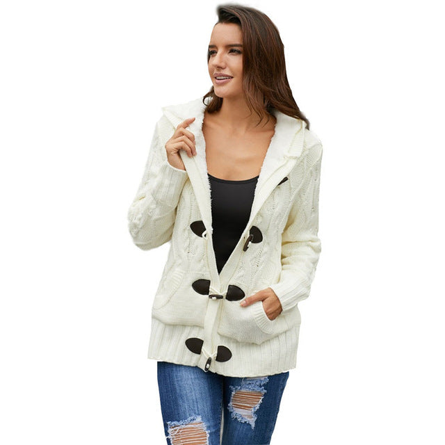 SEBOWEL Faux Fur Hooded Thicken Sweater Cardigan Woman Warm Winter Female Knitted Overcoat Ladies Long Sleeve Sweaters Cardigans