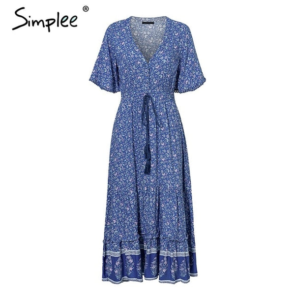 Simplee Bohemian print summer dress women Short sleeve ruffled long maxi dress Elegant v-neck drawstring ladies cotton dresses