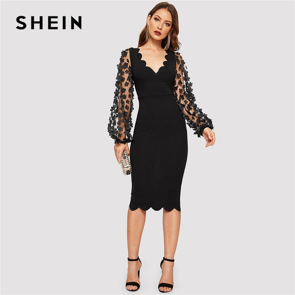 SHEIN Black Elegant 3D Applique Mesh Long Sleeve Scallop Hem Fitted Pencil Dress Women  Summer V-Neck Solid Bodycon Dresses