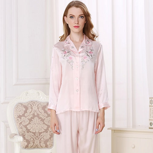 women pajama sets Silk Satin Pajamas Set Pajama Pyjamas Set 100% silk embroidery Sleepwear