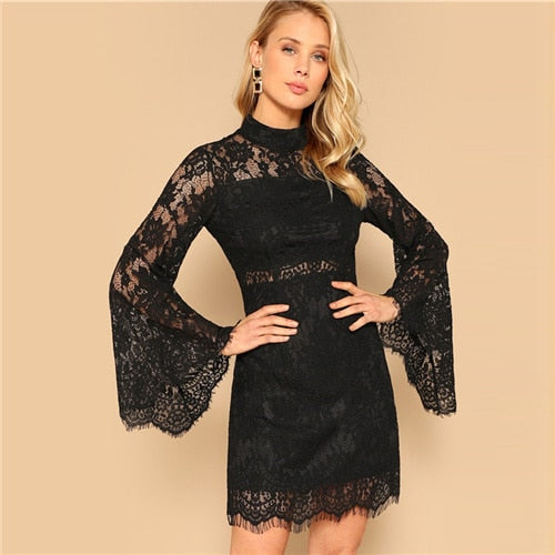 SHEIN Black Floral Lace Overlay Flare Sleeve Stand Collar Slim Short Dress Women Solid Spring Summer Sexy Party Pencil Dresses