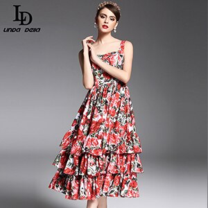 LD LINDA DELLA Summer Fashion Designer Runway Dress Women's Spaghetti Strap Sexy Tiered Red Rose Floral Printed Mid Calf Dress
