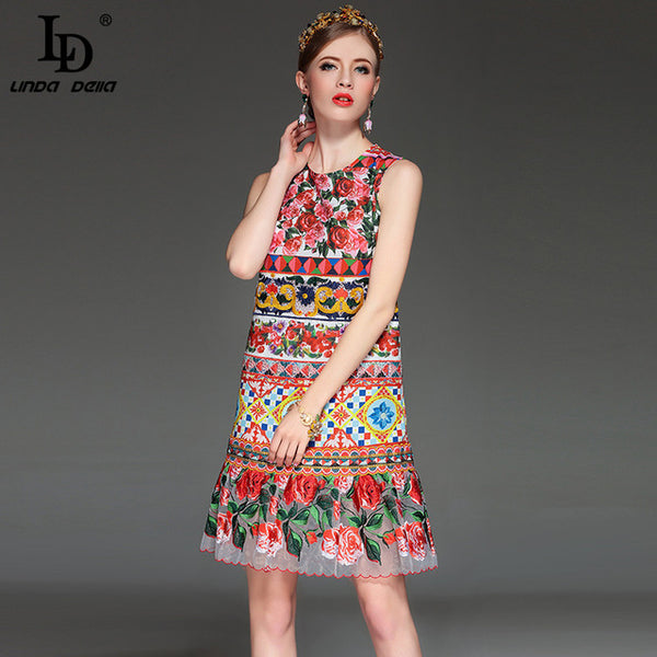 High Quality Runway Designer Summer Dress Women's Elegant Sleeveless Tank Gorgeous Rose Floral Printed Embroidery Dress