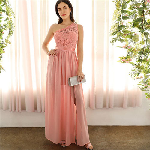 SHEIN Sexy Pink Lace One Shoulder Slit Front Mixed Media Maxi Dress Women Empire A Line Slit Hem Long Summer Party Dresses