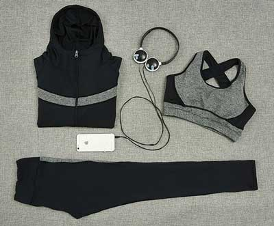 Yoga Suit Women 3 Pieces Solid Black&Grey Patchwork M-XL Plus Size Set Sportswear
